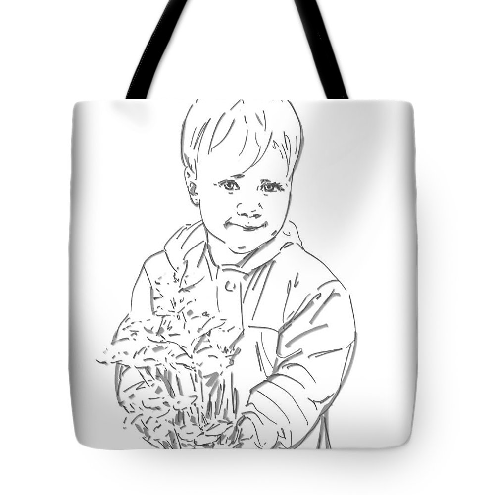 Drawing Tote Bag featuring the digital art First Time Growing Strawberries by Olimpia - Hinamatsuri Barbu