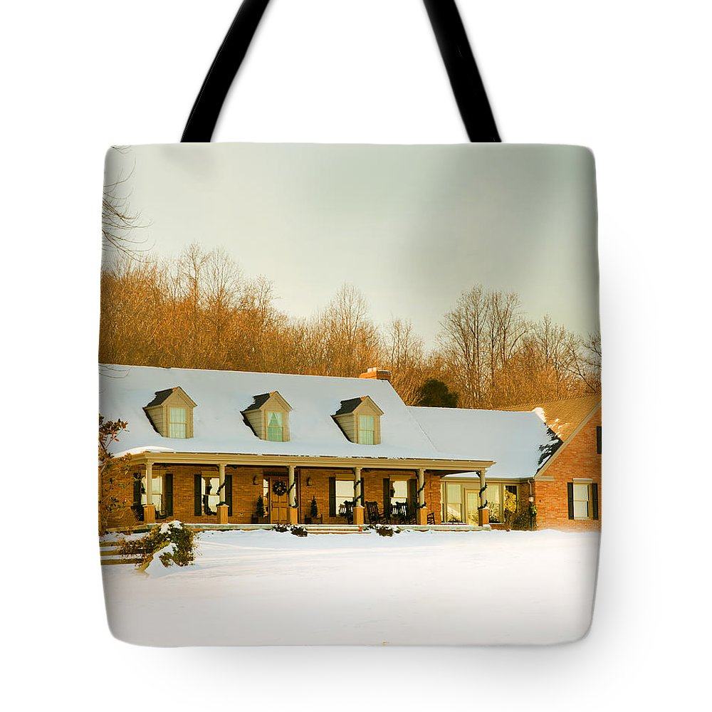 First Winter Snow Tote Bag featuring the photograph First Winter Snow by Randall Branham