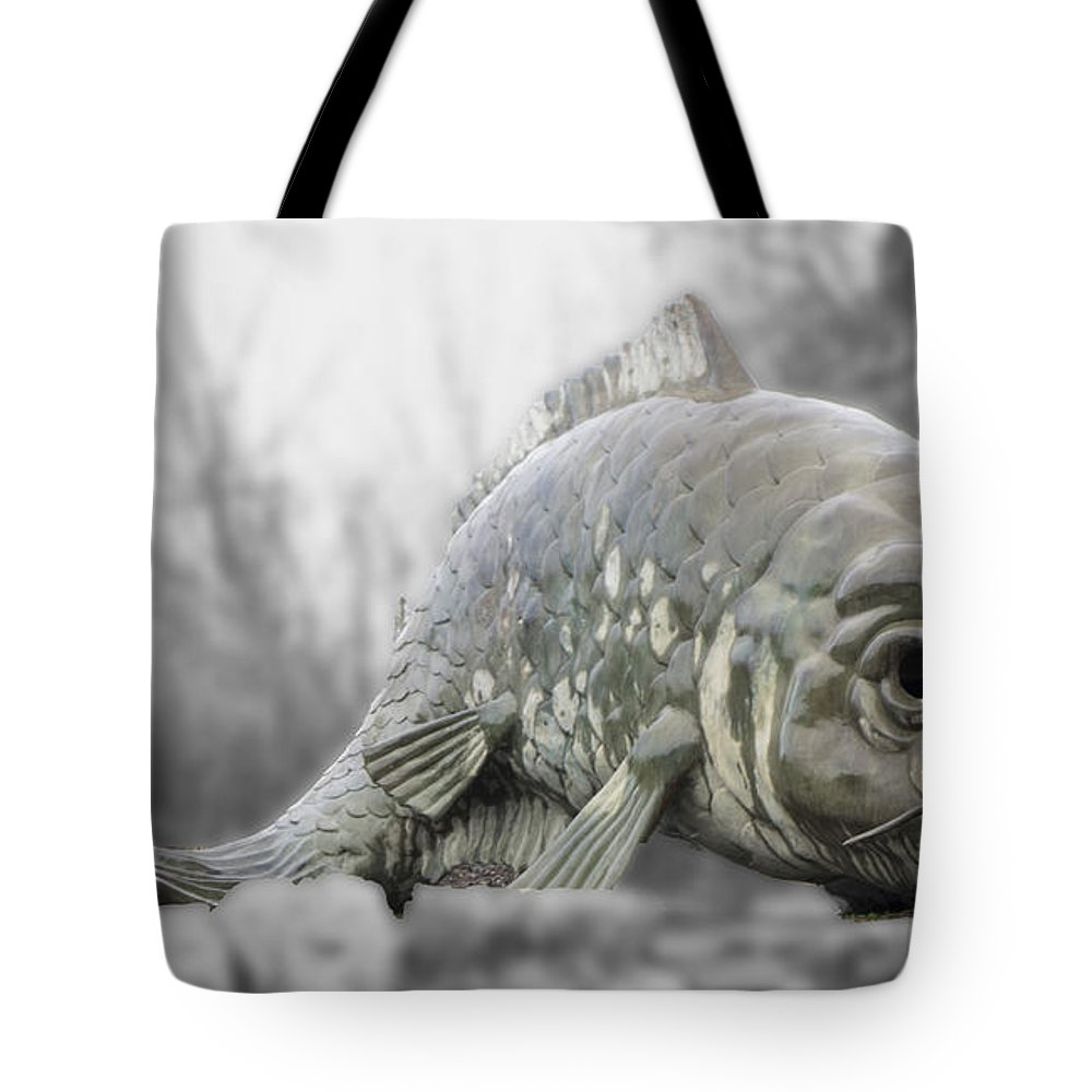 Tote Bag featuring the digital art Fish Sculpture by Cathy Anderson
