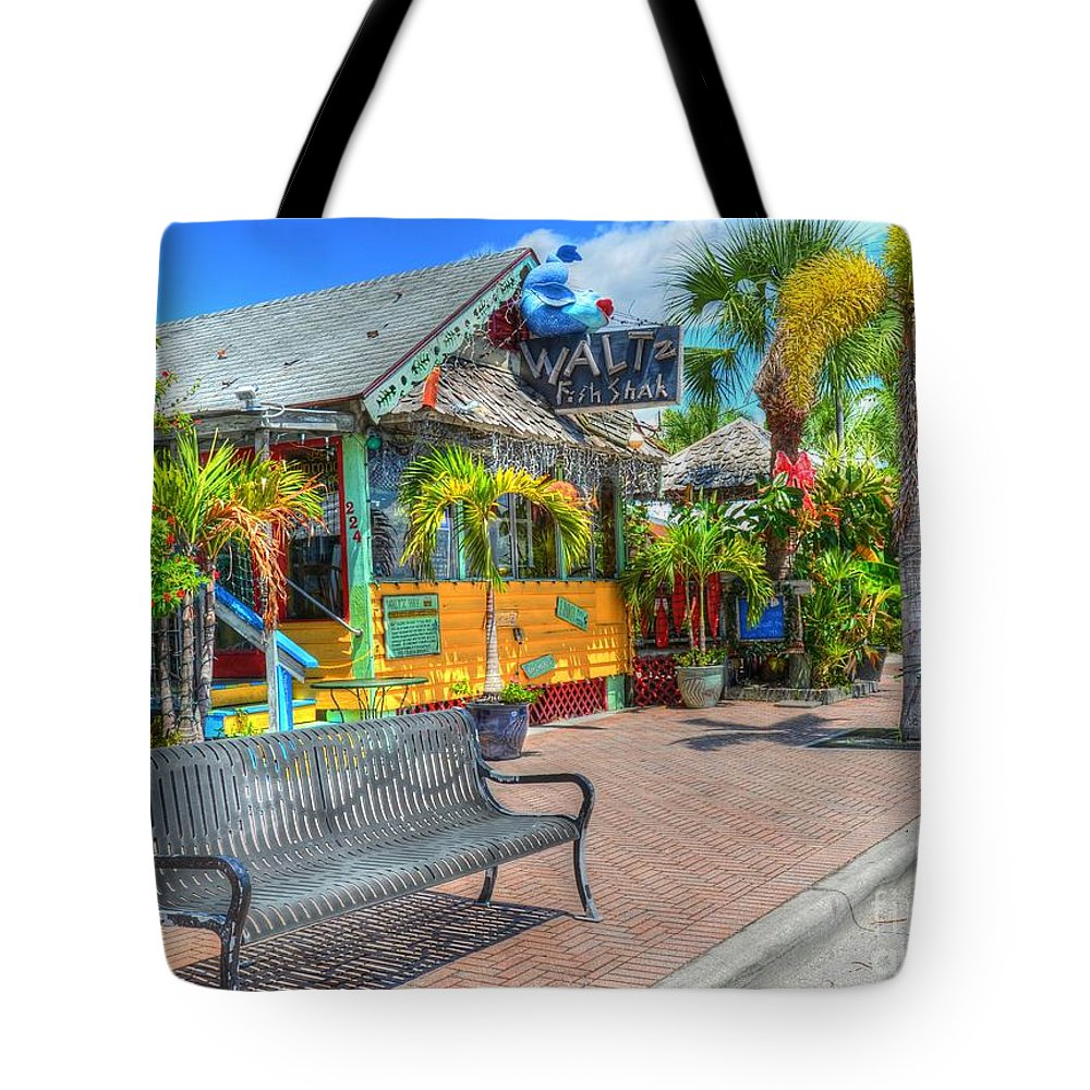 Bench Tote Bag featuring the photograph Fish Shak by Debbi Granruth