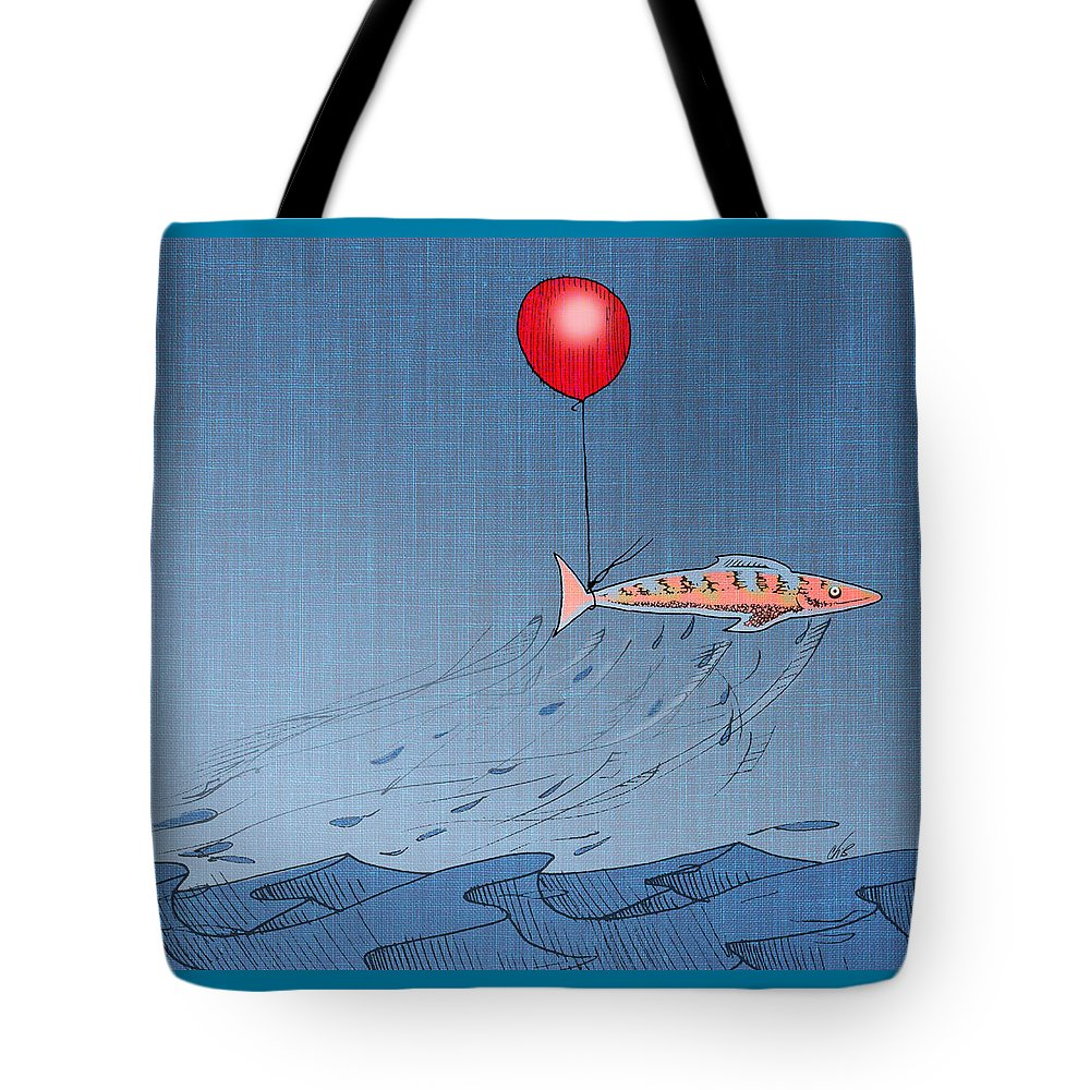 Fish Tote Bag featuring the drawing Fish Taking A Refreshing Dip by Ch' Brown