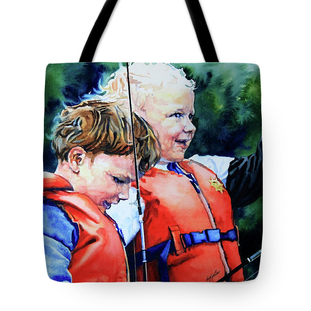 Portrait Tote Bag featuring the painting Fish Tales by Hanne Lore Koehler