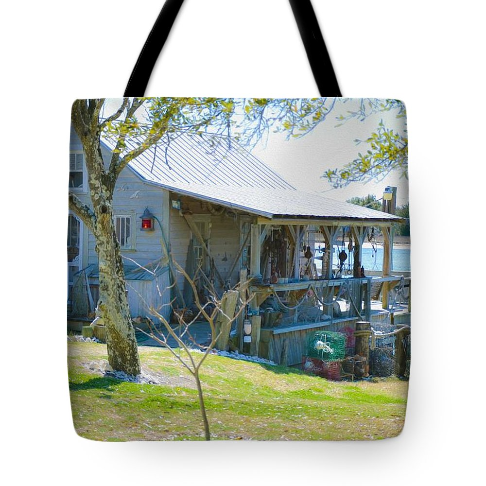 Swansboro Tote Bag featuring the painting Fisherman's House 2 by Jeelan Clark