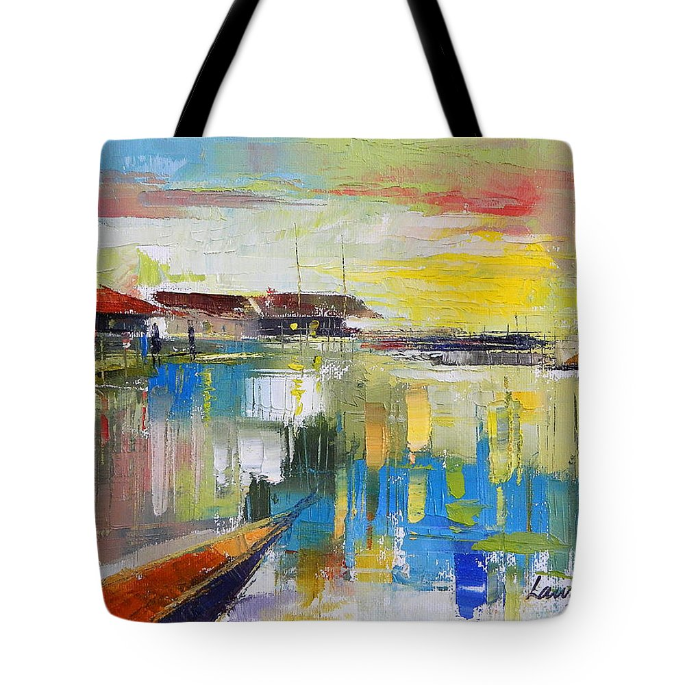 Water Tote Bag featuring the painting Fishers Haven by Said Oladejo-lawal