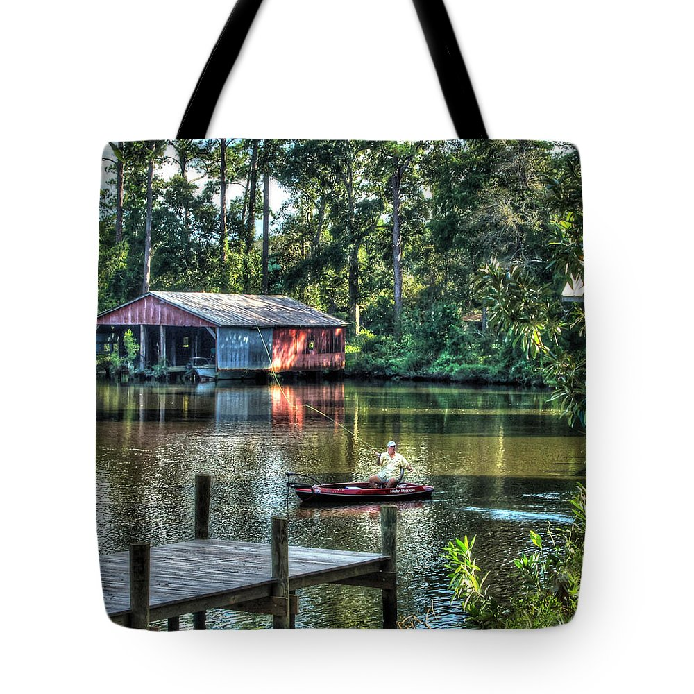 Alabama Tote Bag featuring the digital art Fishing At Big Daddy's by Michael Thomas