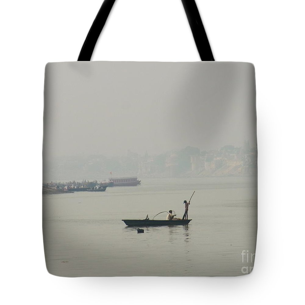 India Tote Bag featuring the photograph Fishing At Ganaga by Agnieszka Ledwon