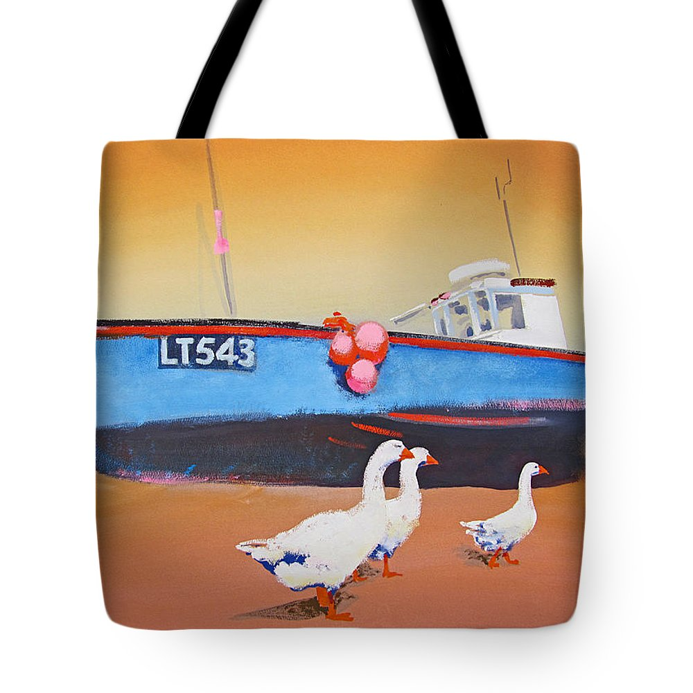 Geese Tote Bag featuring the painting Fishing Boat Walberswick With Geese by Charles Stuart