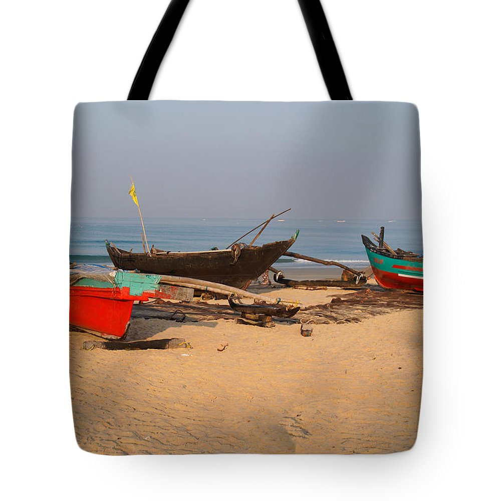 Boats Tote Bag featuring the digital art Fishing Boats by Carol Ailles