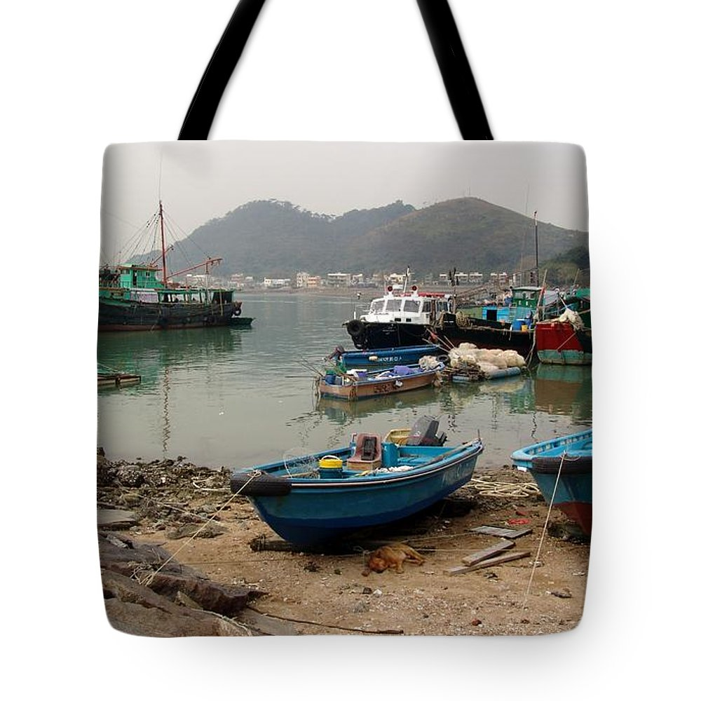 Boat Tote Bag featuring the photograph Fishing Boats - Hong Kong by Ian Mcadie