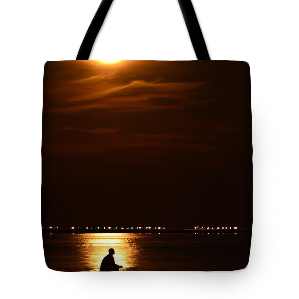 Fisherman Tote Bag featuring the photograph Fishing By Moonlight01 by Jeff at JSJ Photography