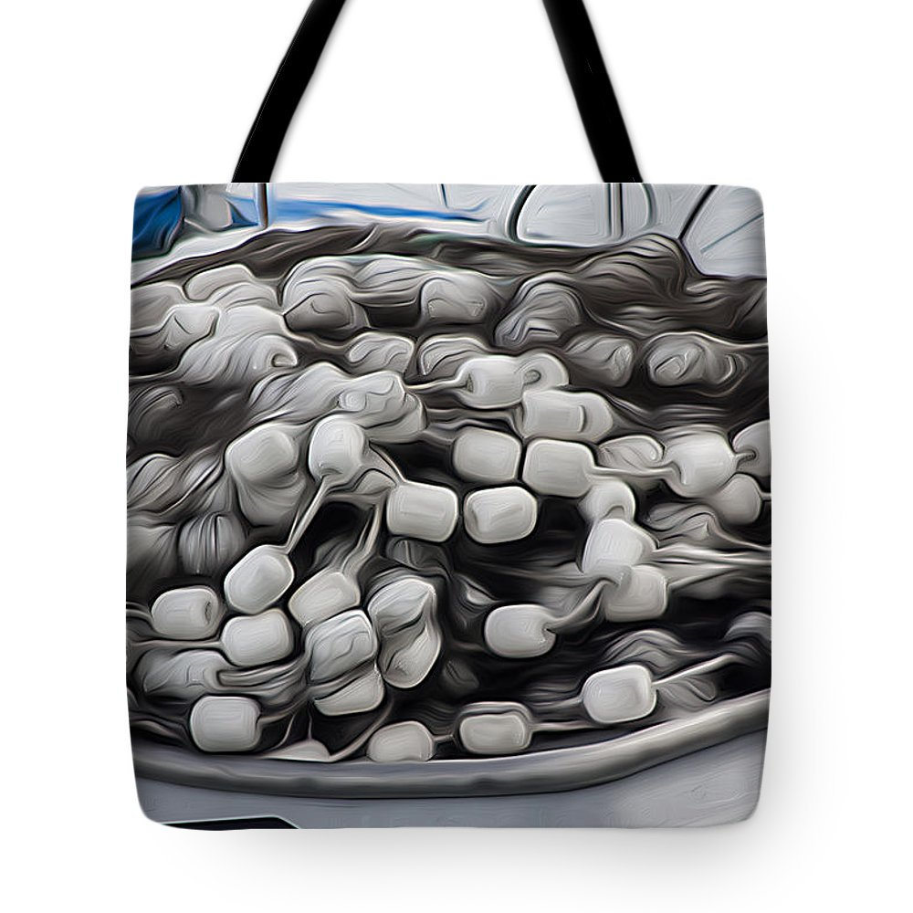 Boat Tote Bag featuring the photograph Fishing Floats On A Boat by David Kehrli