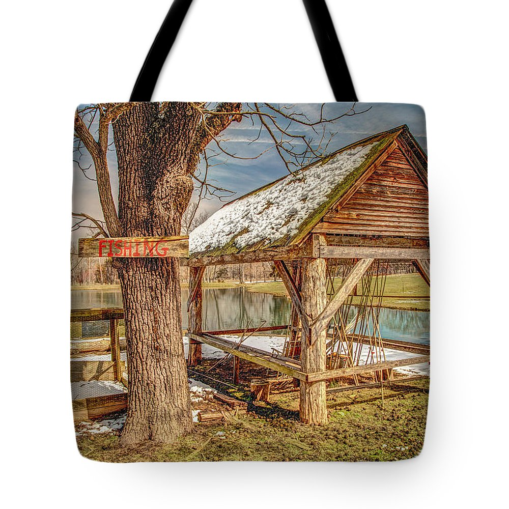 Clouds Tote Bag featuring the photograph Fishing Hole by Bobby Hicks