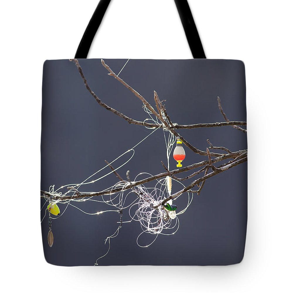 Fishing Line Tote Bag featuring the photograph Fishing Line Sculpture by Melinda Fawver