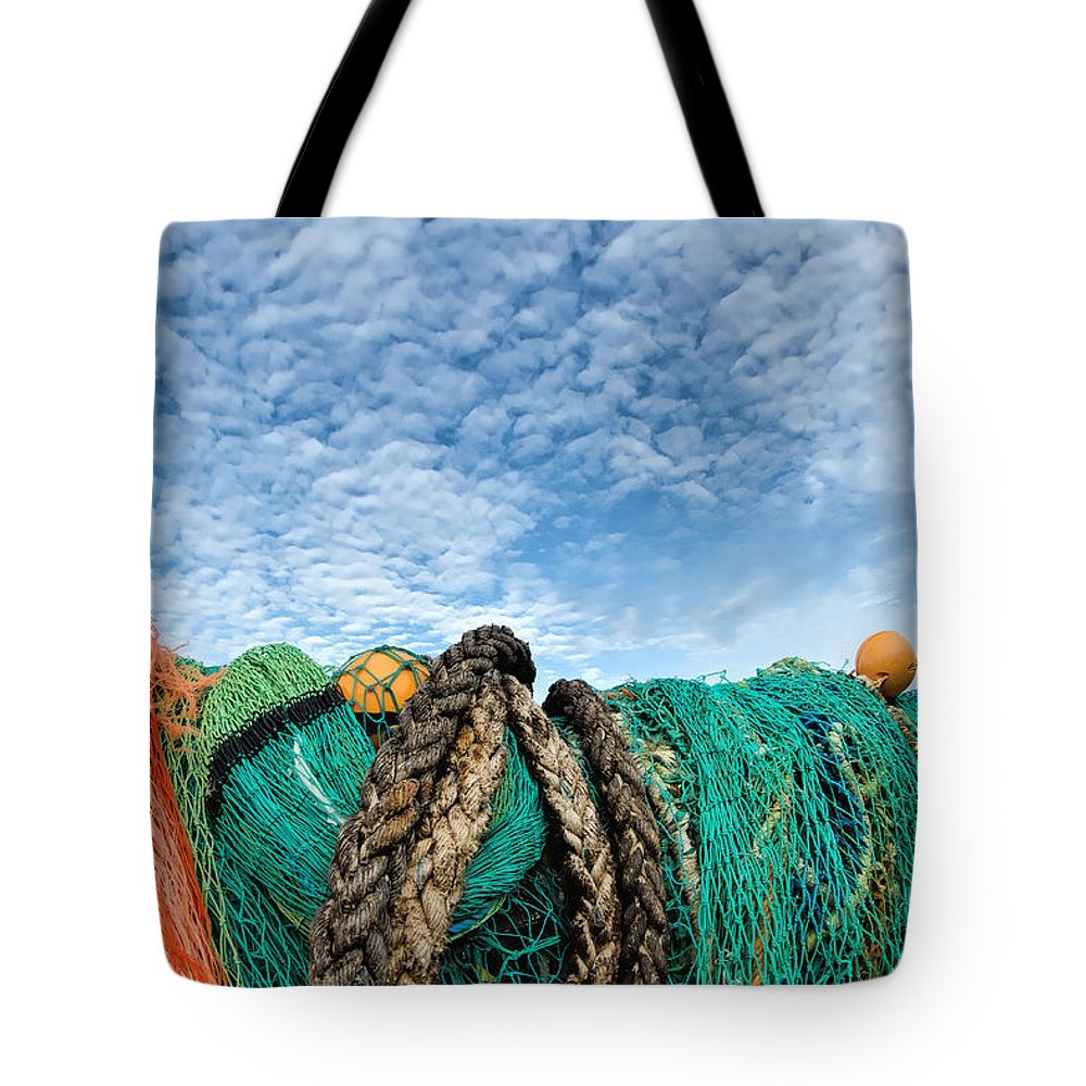 Alto-cumulus Tote Bag featuring the photograph Fishing Nets And Alto-cumulus Clouds by Susie Peek