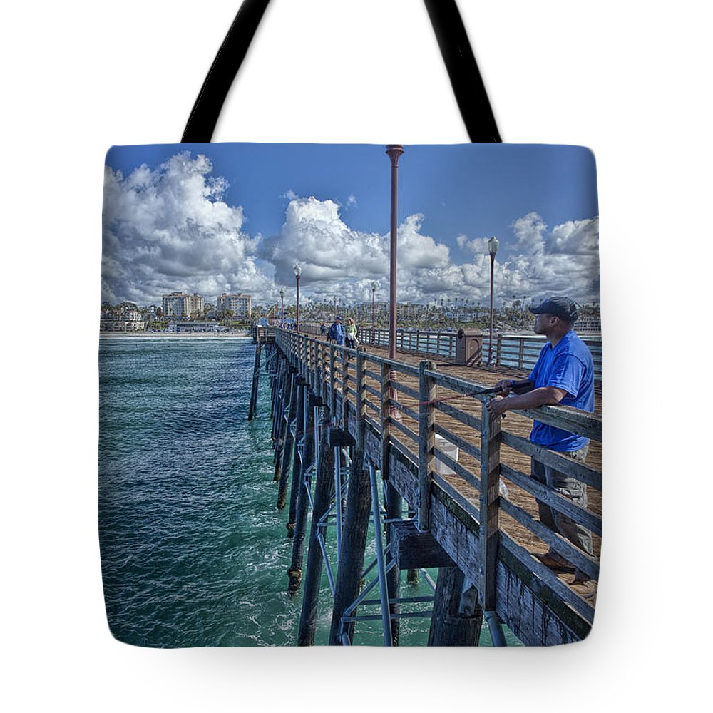 Carlsbad Tote Bag featuring the photograph Fishing On Oceanside Pier by Diana Powell