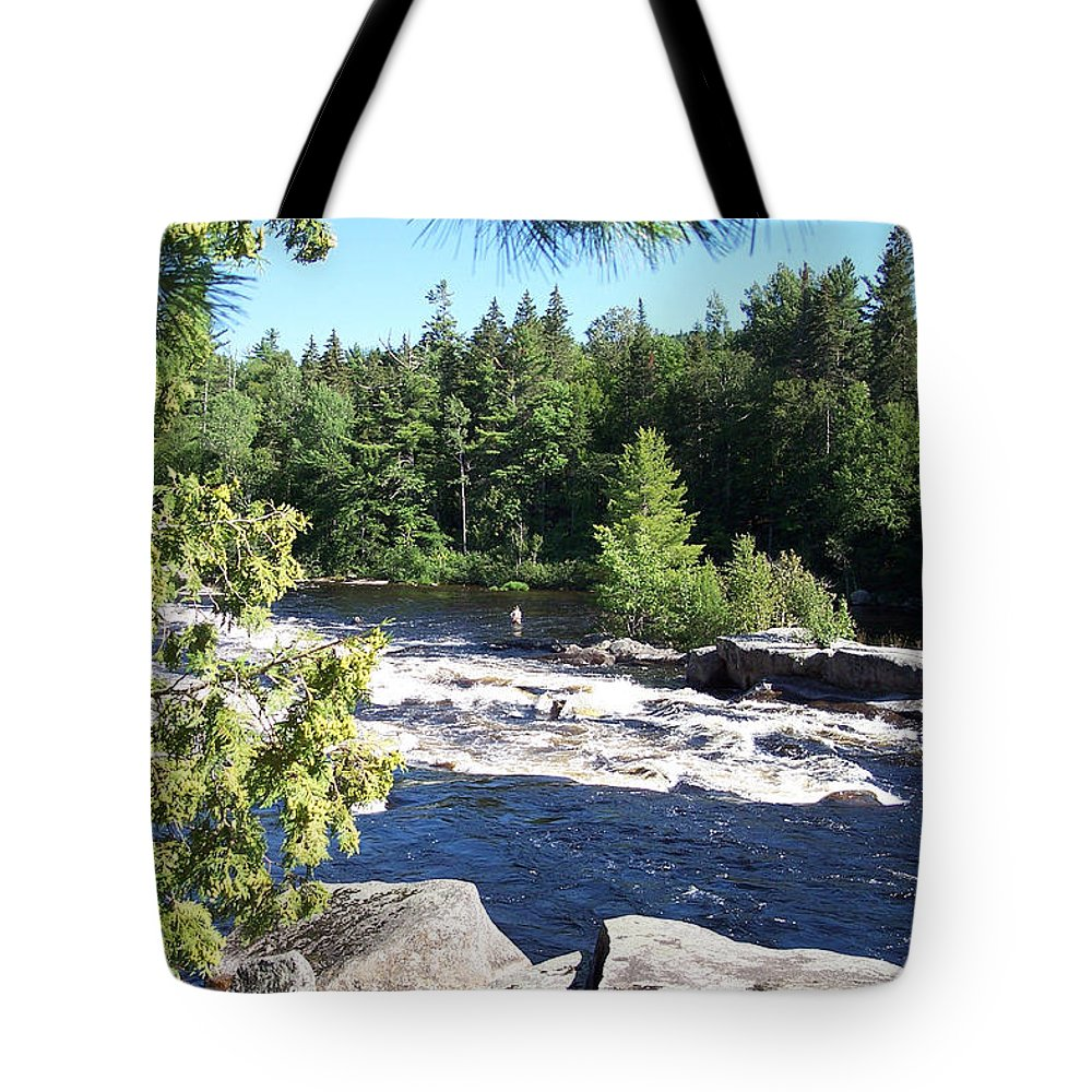 Fishing Tote Bag featuring the photograph Fishing On The West Branch by Georgia Hamlin
