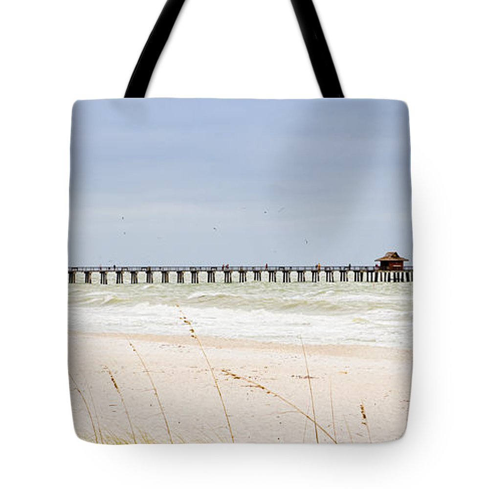 Naples Tote Bag featuring the photograph Fishing Pier In Naples by Les Palenik
