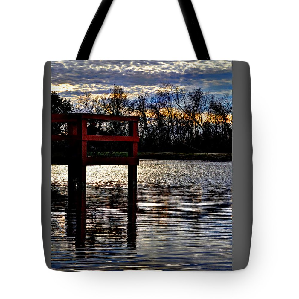 Fishing Tote Bag featuring the photograph Fishing Pier Sunset by Savannah Gibbs
