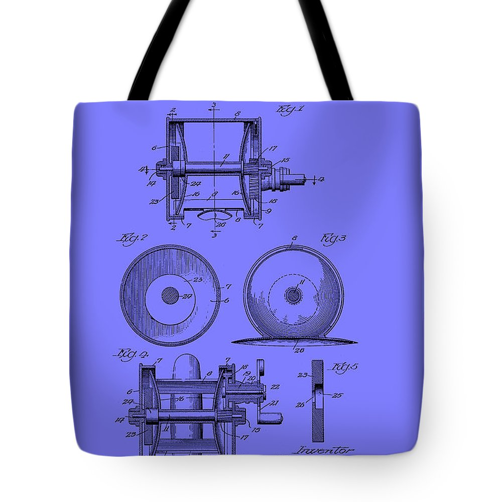 Patent Tote Bag featuring the drawing Fishing Reel Patent 1930 by Mountain Dreams