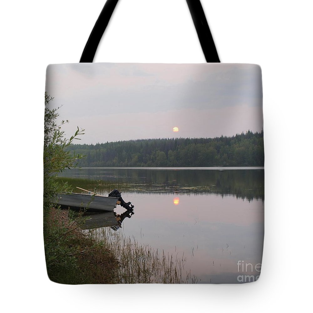 Boat Tote Bag featuring the photograph Fishing Tranquility by Vivian Martin