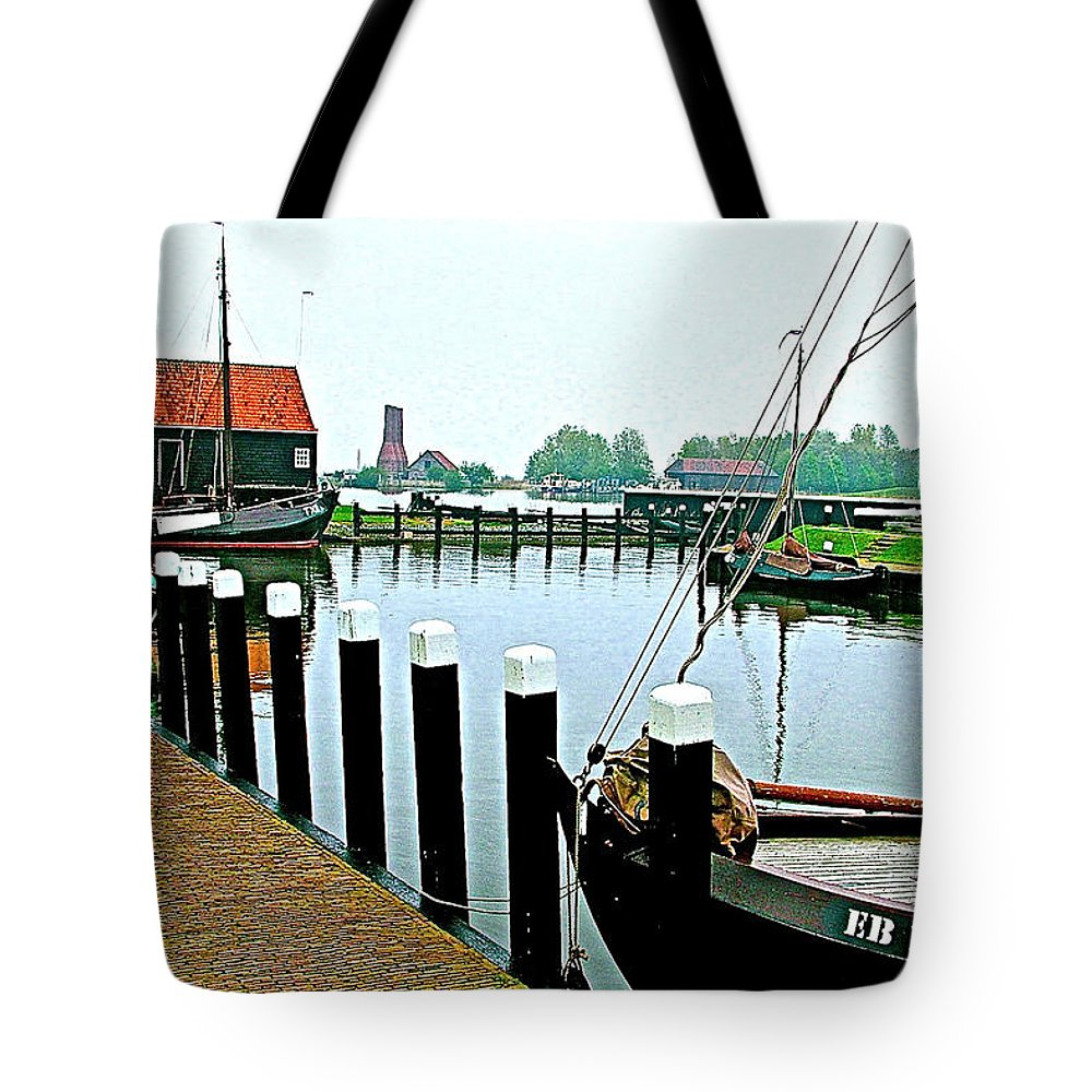 Fishing Village Marina In Zuiderzee Open Air Musuem In Enkhuizen Tote Bag featuring the photograph Fishing Village Marina In Zuiderzee Open Air Musuem In Enkhuizen-netherlands by Ruth Hager