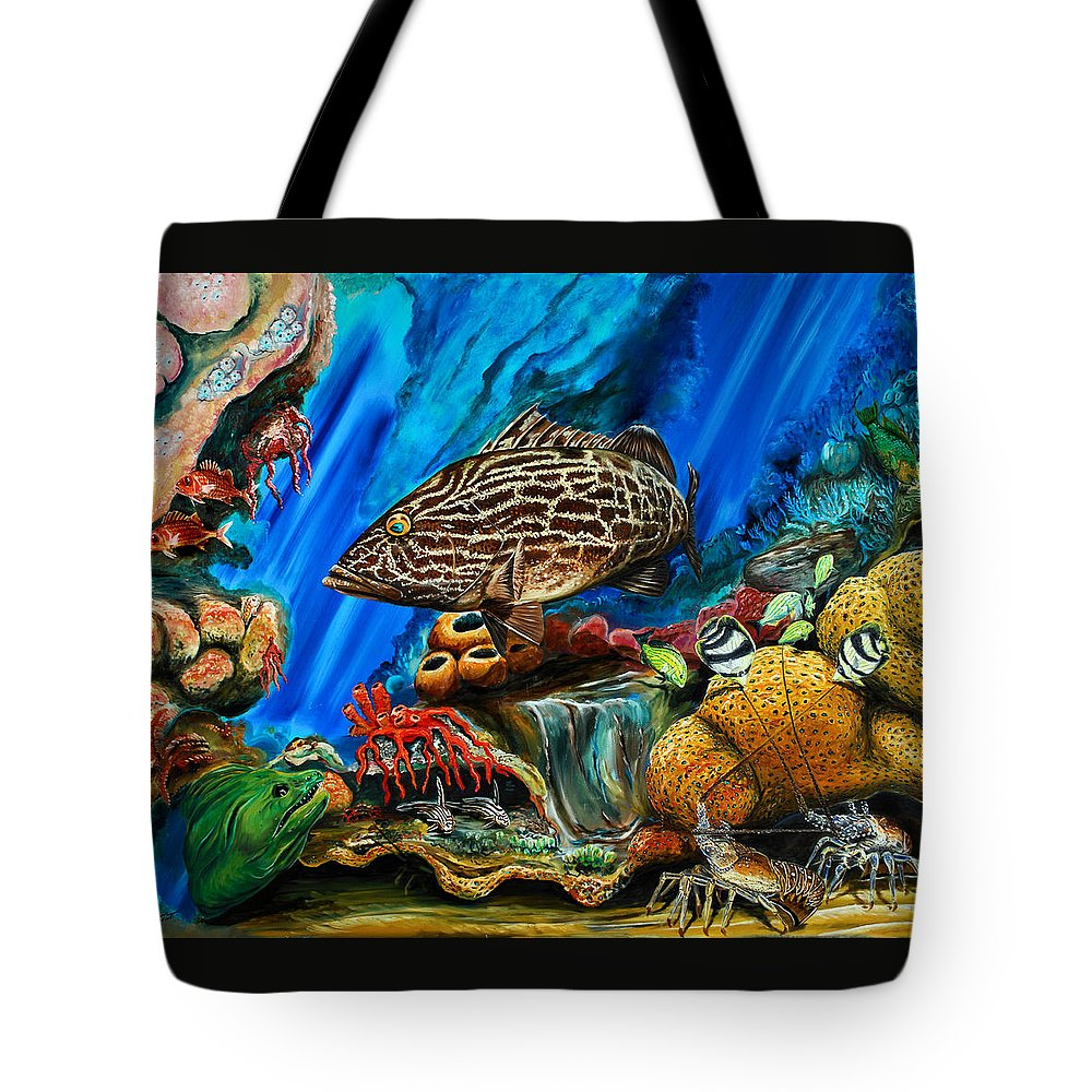 Grouper Art Tote Bag featuring the painting Fishtank by Steve Ozment