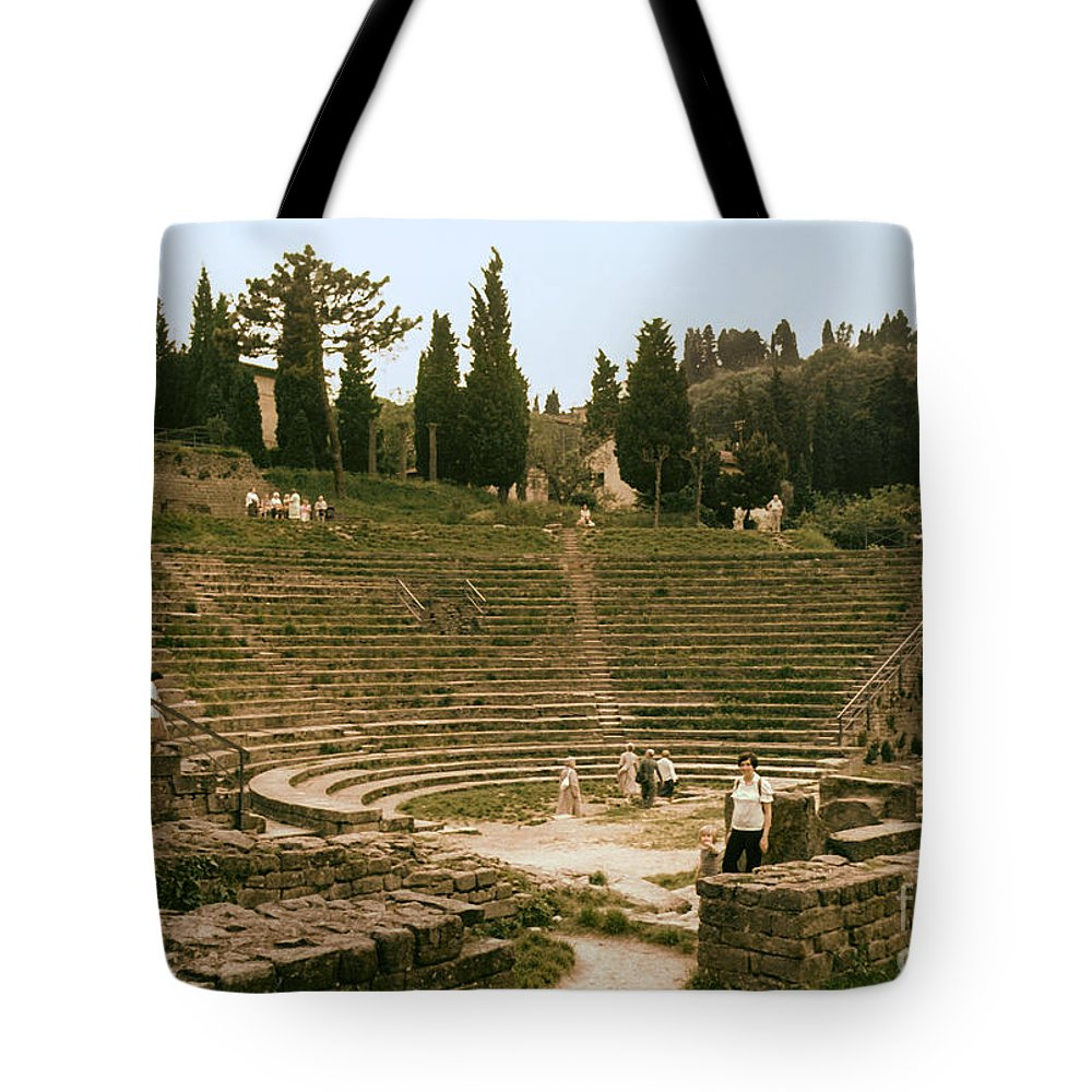 Fiesole Theatre Ruins Ruin People Person Persons Structure Structures Architecture Seat Seats Stark Stairs Building Buildings Stone Wall Stones Walls Landscape Landscapes Italy Tote Bag featuring the photograph Fisole Theatre Ruins by Bob Phillips