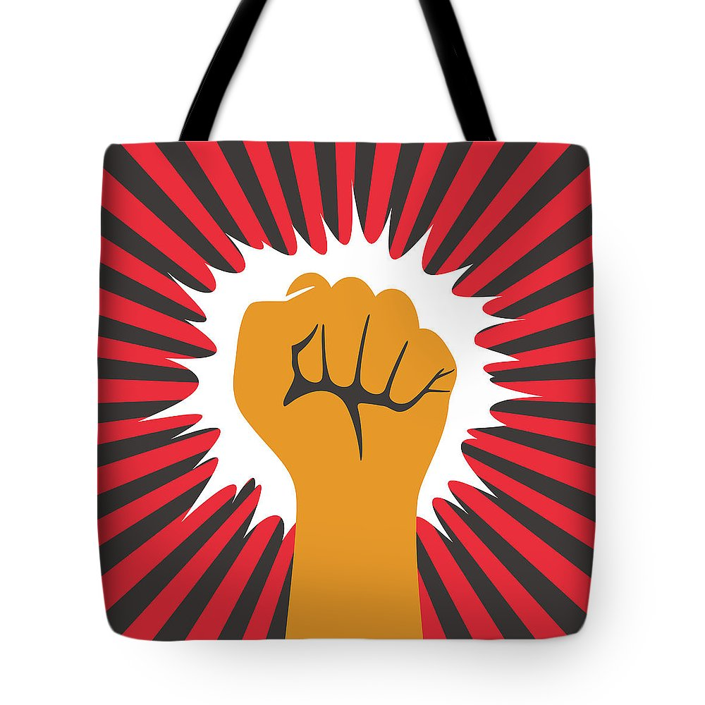 Toughness Tote Bag featuring the digital art Fist Hand With Shining Sun by Hakule
