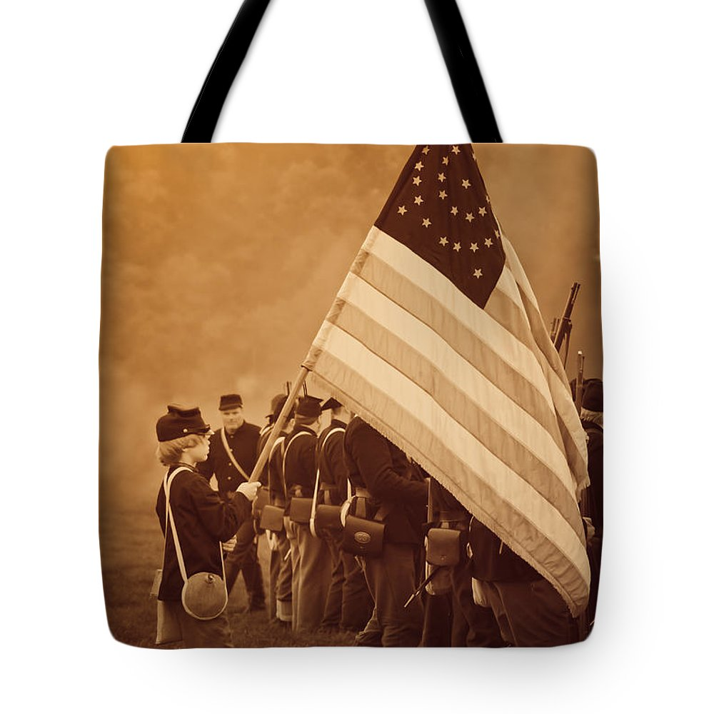 Flag Tote Bag featuring the photograph Flag Carrier by Kim Henderson