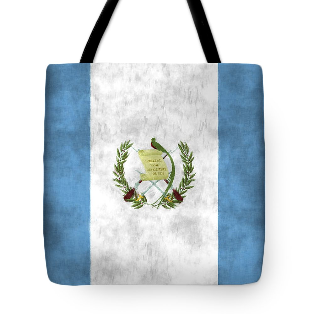 Central America Tote Bag featuring the digital art Flag Of Guatamala by World Art Prints And Designs