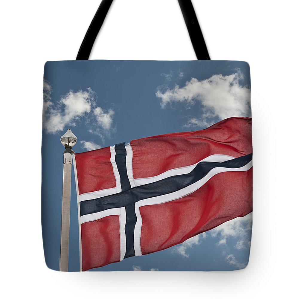 Flag Of Norway Tote Bag featuring the photograph Flag Of Norway by Steve Purnell