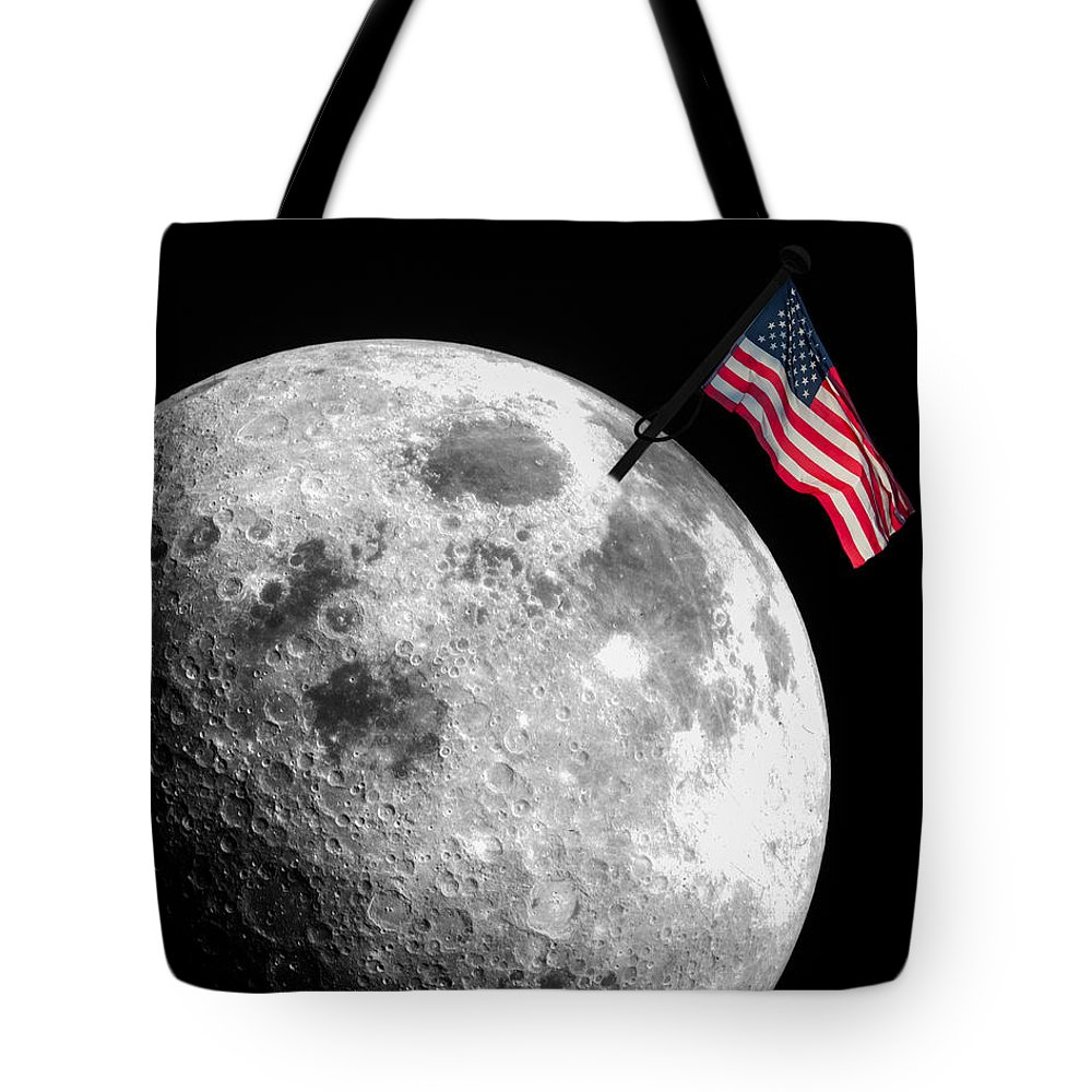 American Flag Tote Bag featuring the photograph Flag On The Moon by Semmick Photo