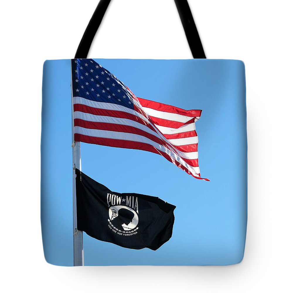 Patriotic Tote Bag featuring the photograph Flags by Laurel Powell