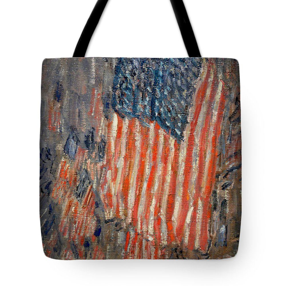 Flags On The Waldorf Tote Bag featuring the painting Flags On The Waldorf by Georgia Fowler