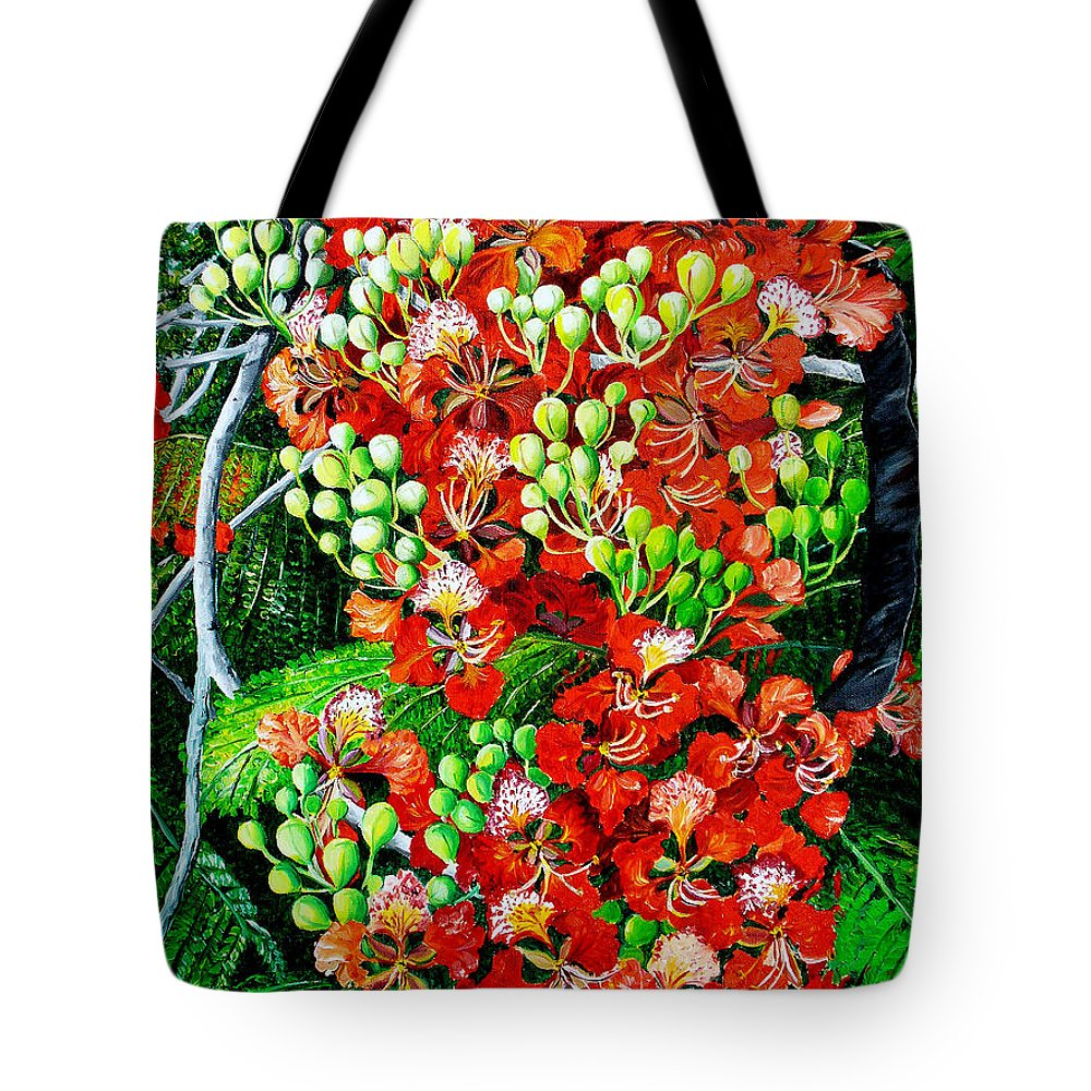 Royal Poincianna Painting Flamboyant Painting Tree Painting Botanical Tree Painting Flower Painting Floral Painting Bloom Flower Red Tree Tropical Paintinggreeting Card Painting Tote Bag featuring the painting Flamboyant in Bloom by Karin Dawn Kelshall- Best