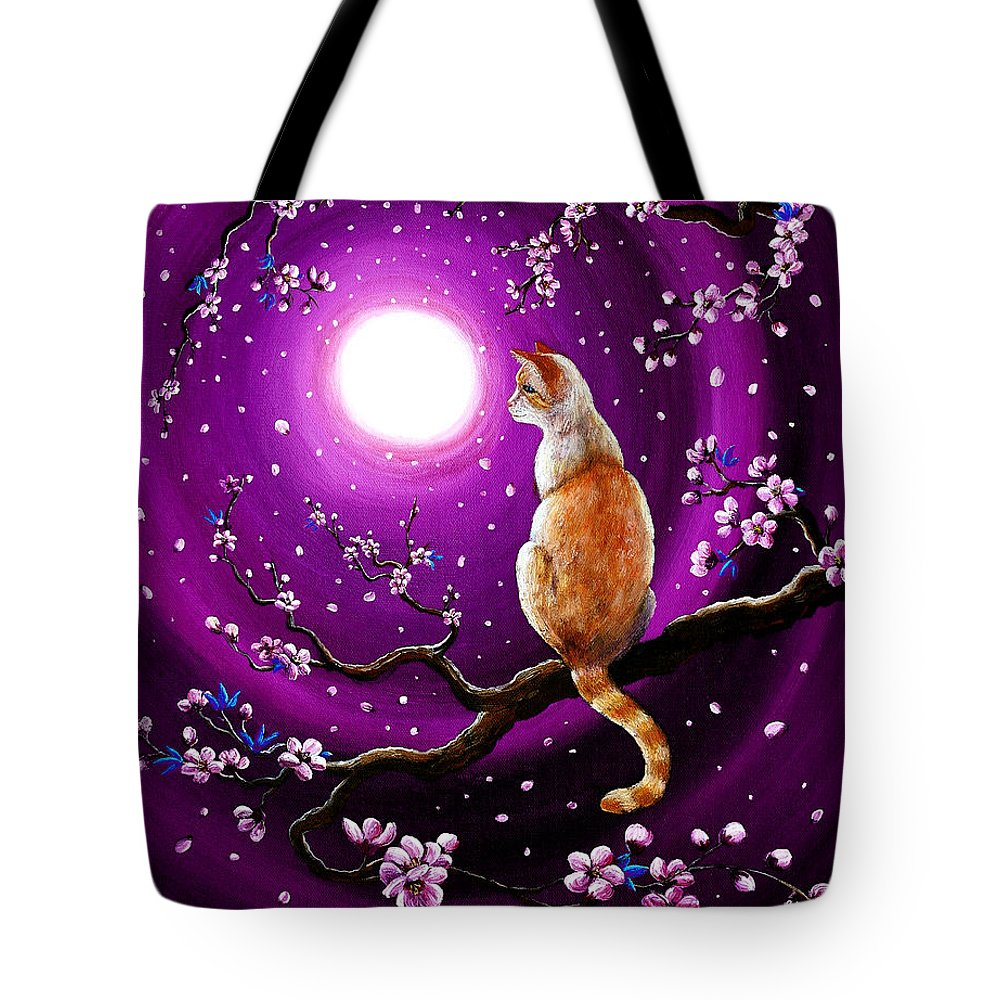 Red Point Tote Bag featuring the painting Flame Point Siamese Cat In Dancing Cherry Blossoms by Laura Iverson