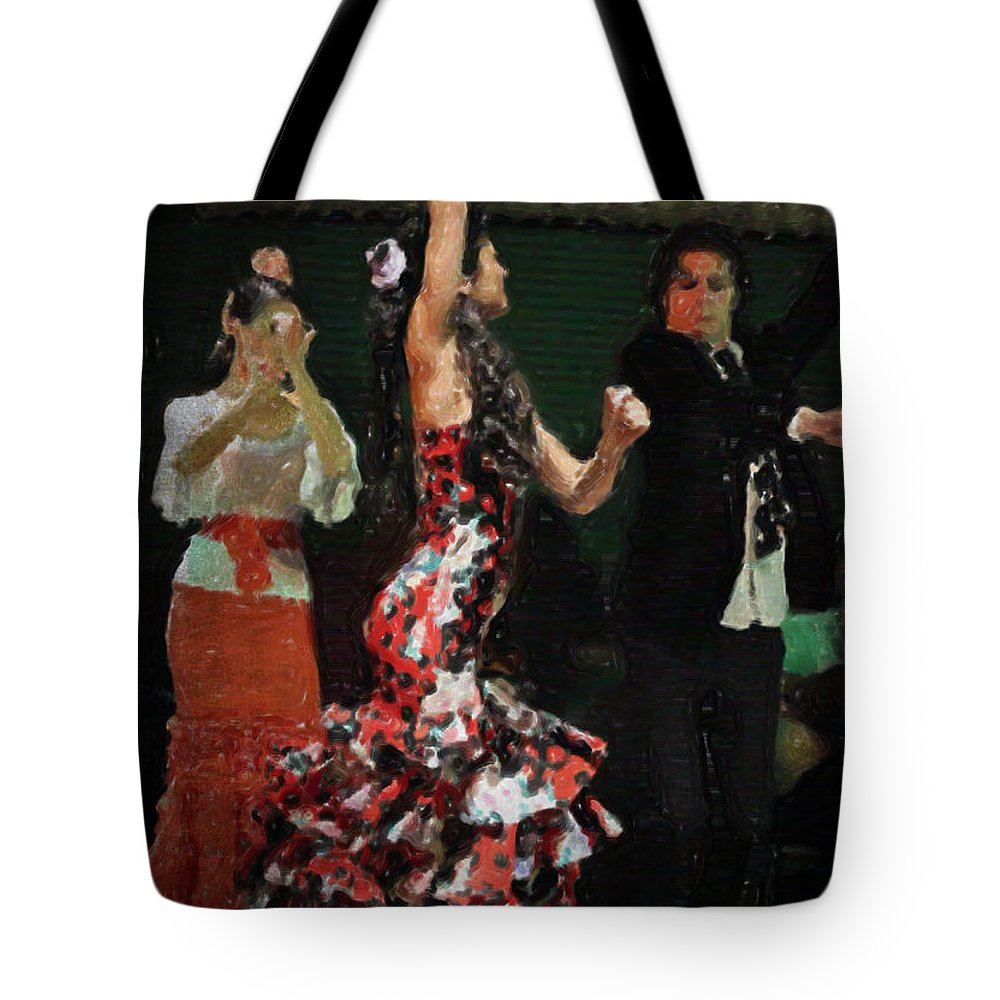 Flamenco Series #13 Tote Bag featuring the photograph Flamenco Series No 13 by Mary Machare