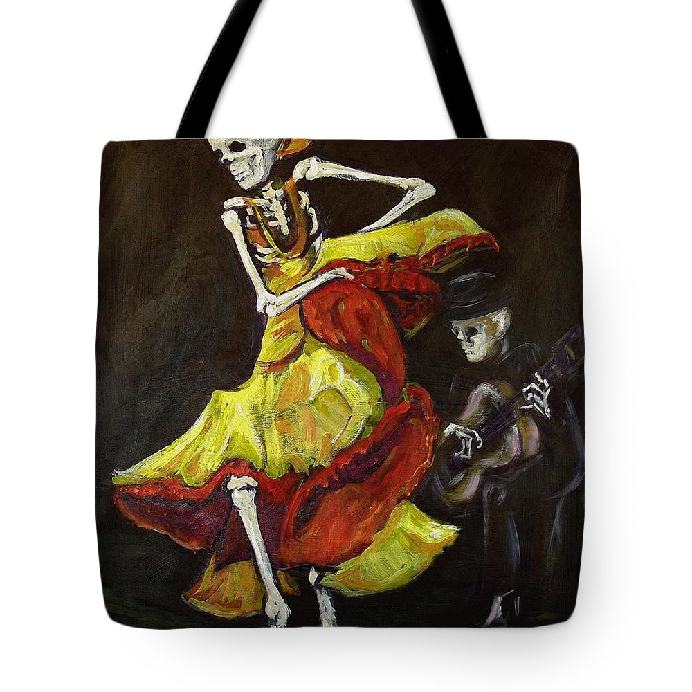 Muertos Tote Bag featuring the painting Flamenco Vi by Sharon Sieben