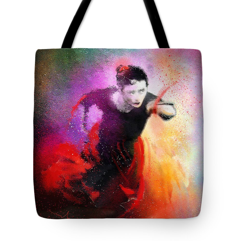 Flamenco Dance Tote Bag featuring the painting Flamencoscape 03 by Miki De Goodaboom