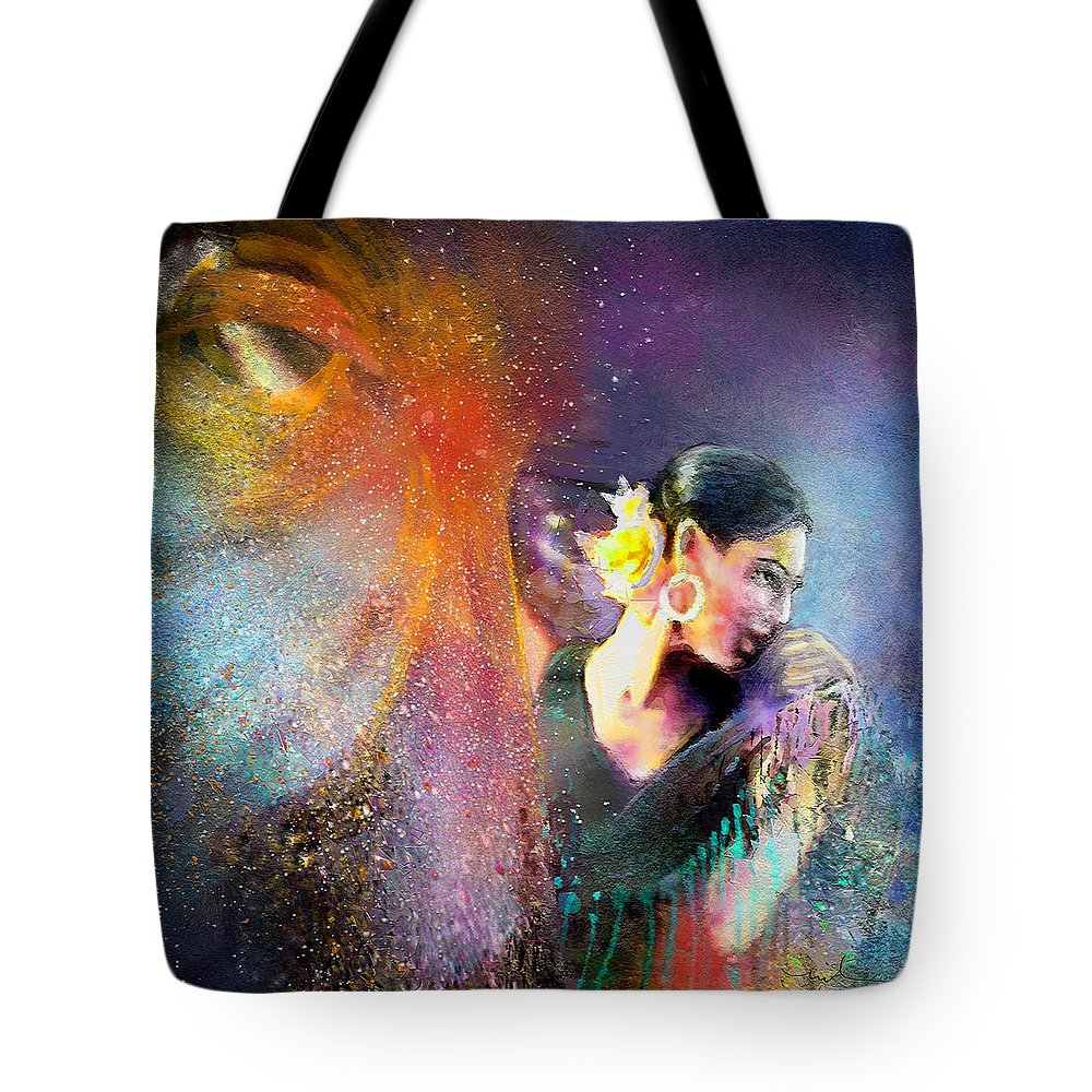 Flamenco Tote Bag featuring the painting Flamencoscape 04 by Miki De Goodaboom