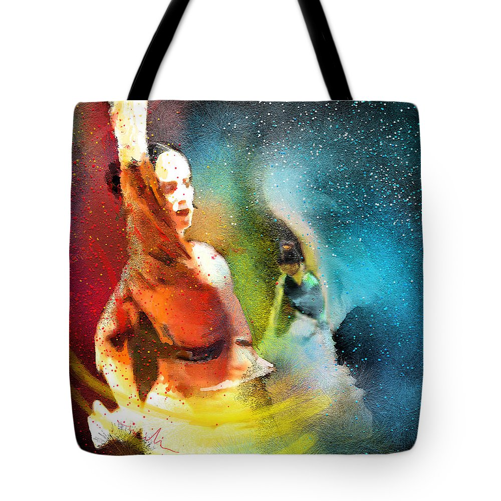 Flamenco Painting Tote Bag featuring the painting Flamencoscape 08 by Miki De Goodaboom