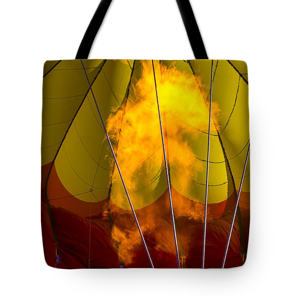 Flames Heating Tote Bag featuring the photograph Flames Heating Up Hot Air Balloon by Garry Gay