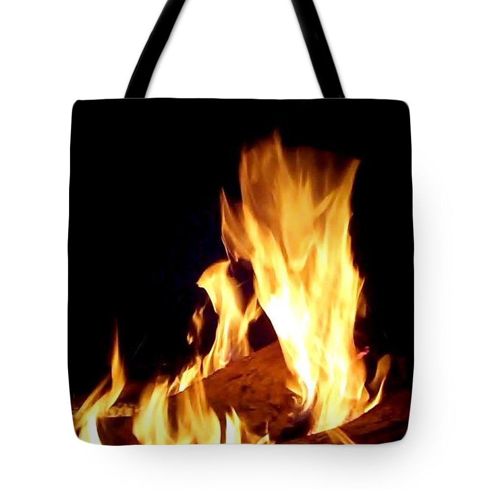 Fire Tote Bag featuring the photograph Flames In The Dark by Cindy New