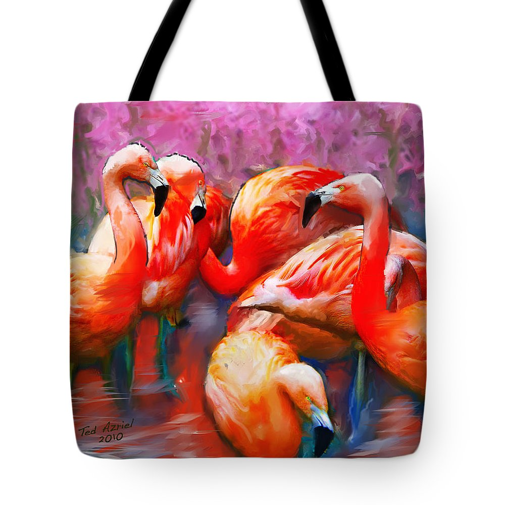 Flamingo Art Paintings Tote Bag featuring the painting Flaming Flamingos by Ted Azriel
