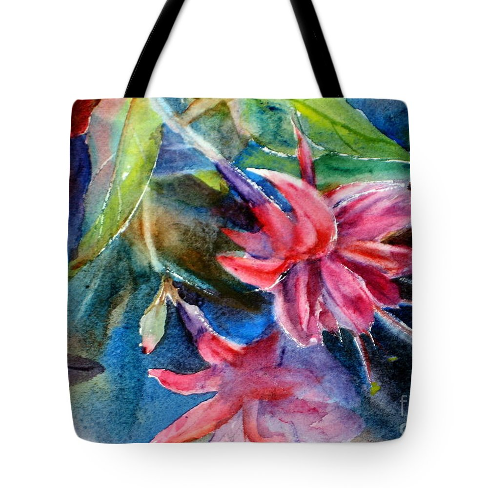 Background Tote Bag featuring the painting Flaming Fuchsias by Mohamed Hirji