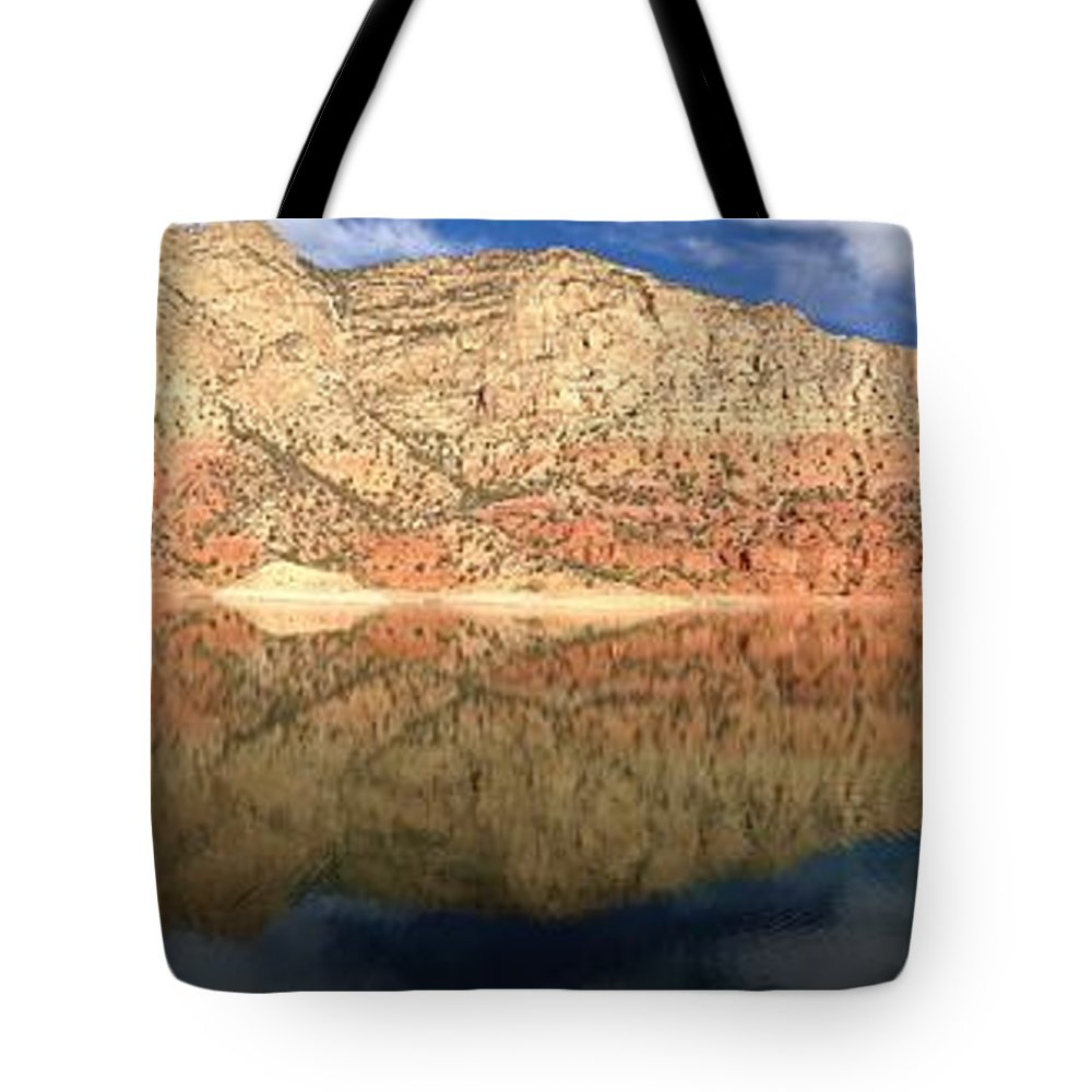 Flaming Gorge Tote Bag featuring the photograph Flaming Gorge Reflections by Carol Milisen
