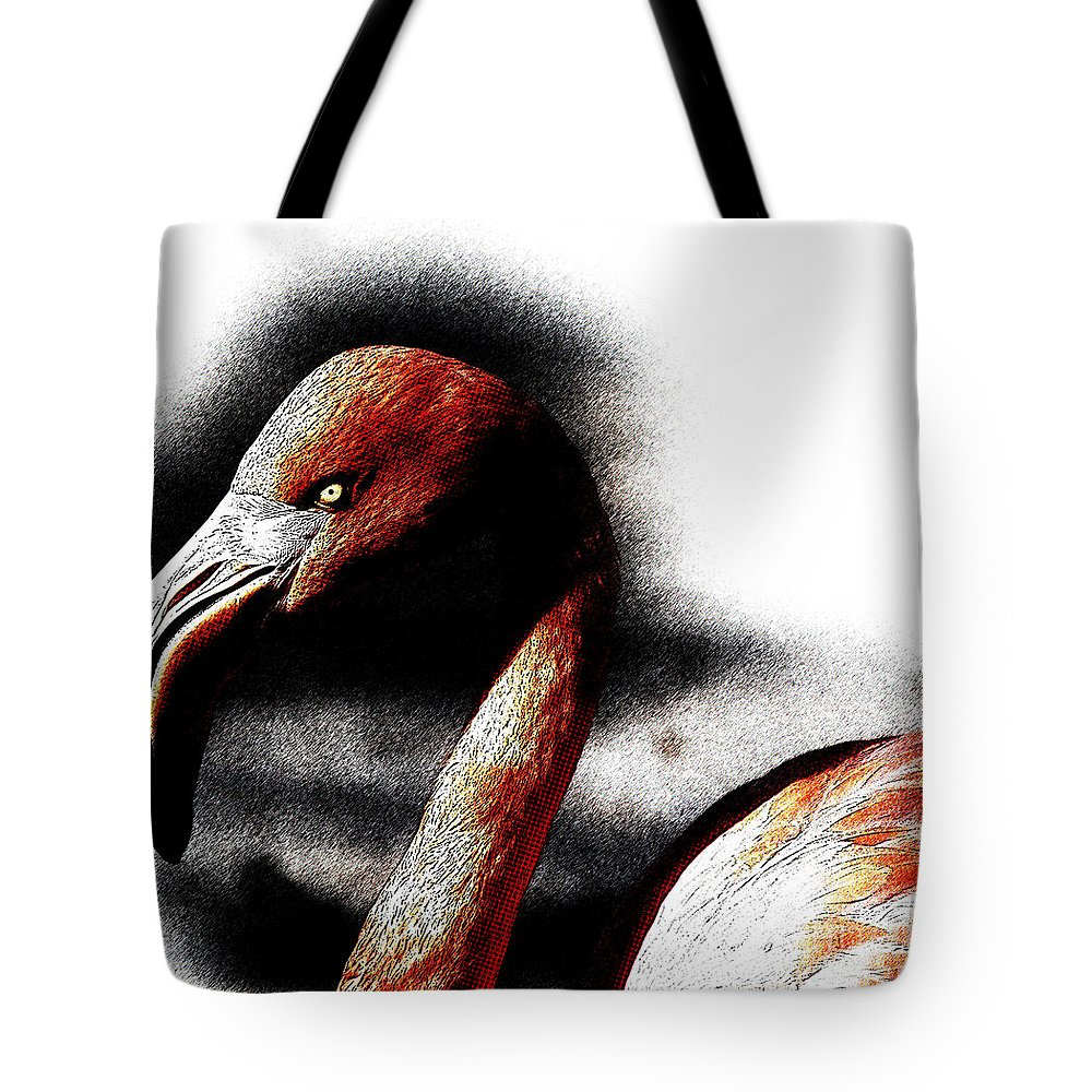 Flamingo Tote Bag featuring the digital art Flamingo by Celestial Images