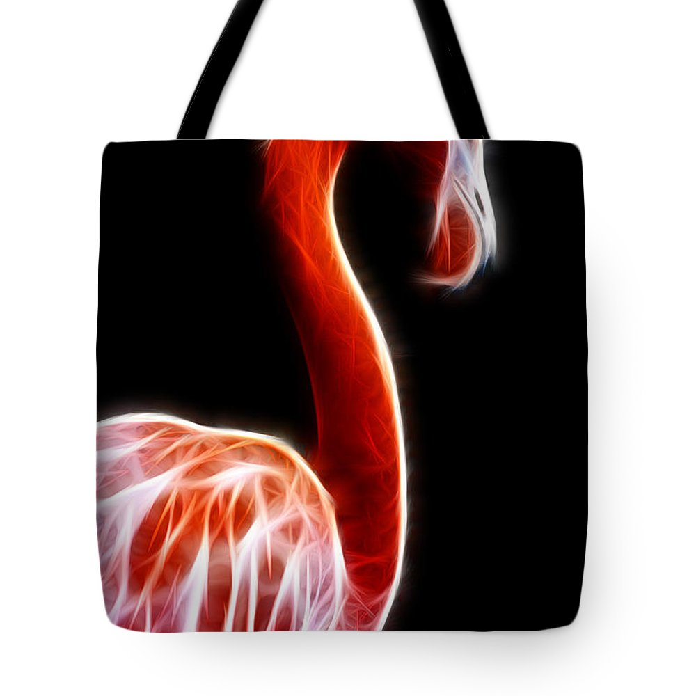 Fractal Tote Bag featuring the photograph Flamingo On Black Fractal by Pati Photography
