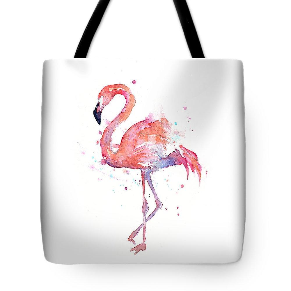 Bird Tote Bag featuring the painting Flamingo Watercolor by Olga Shvartsur