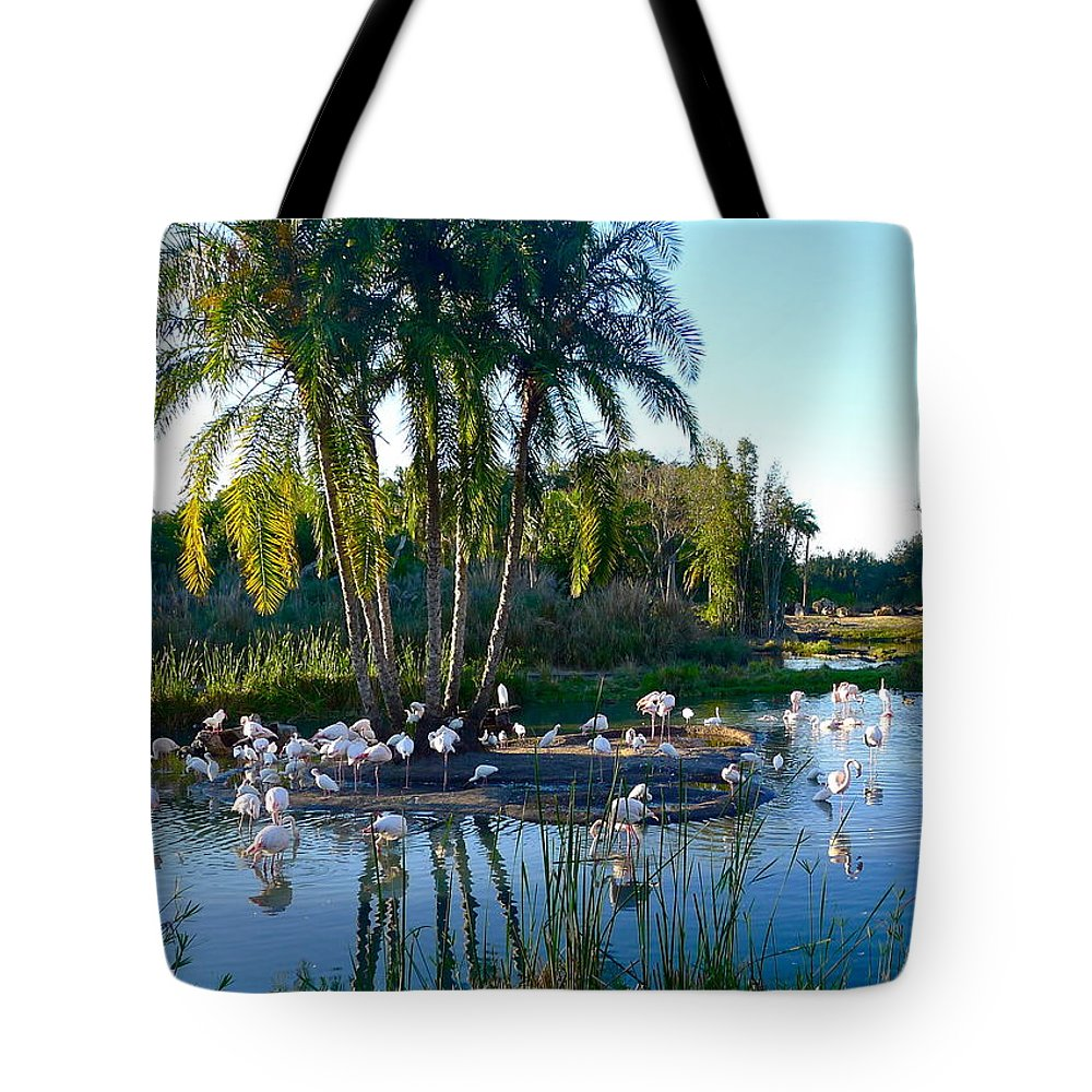 Bird Tote Bag featuring the photograph Flamingo Watering Hole by Denise Mazzocco